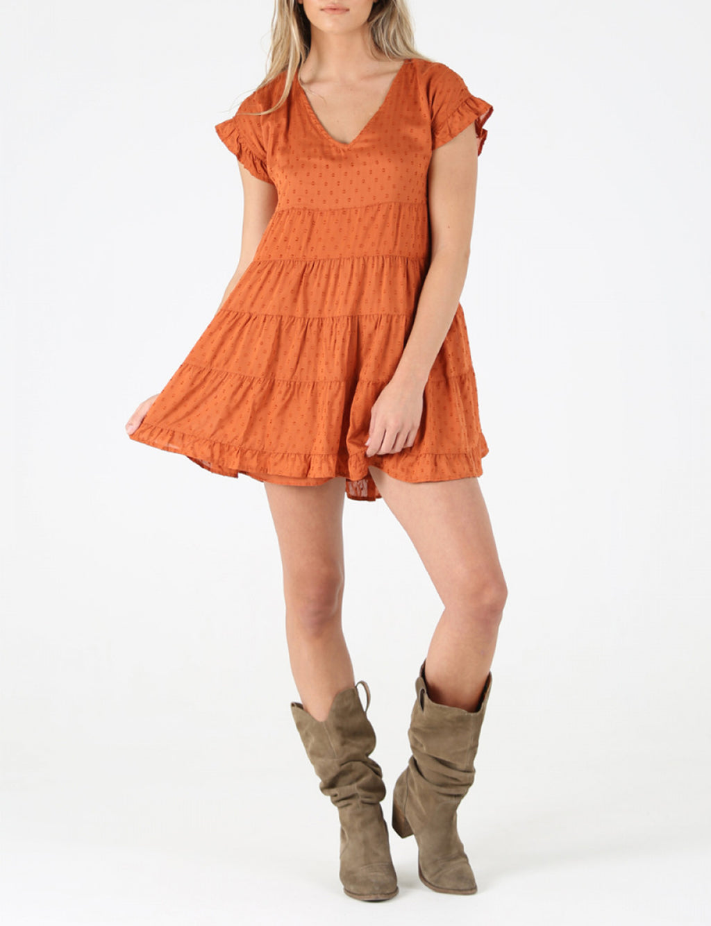 Swiss Dot Tiered Dress in Bombay Brown