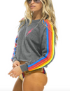 Aviator Nation Bolt Cropped Classic Crew Sweatshirt in Heather Grey Neon