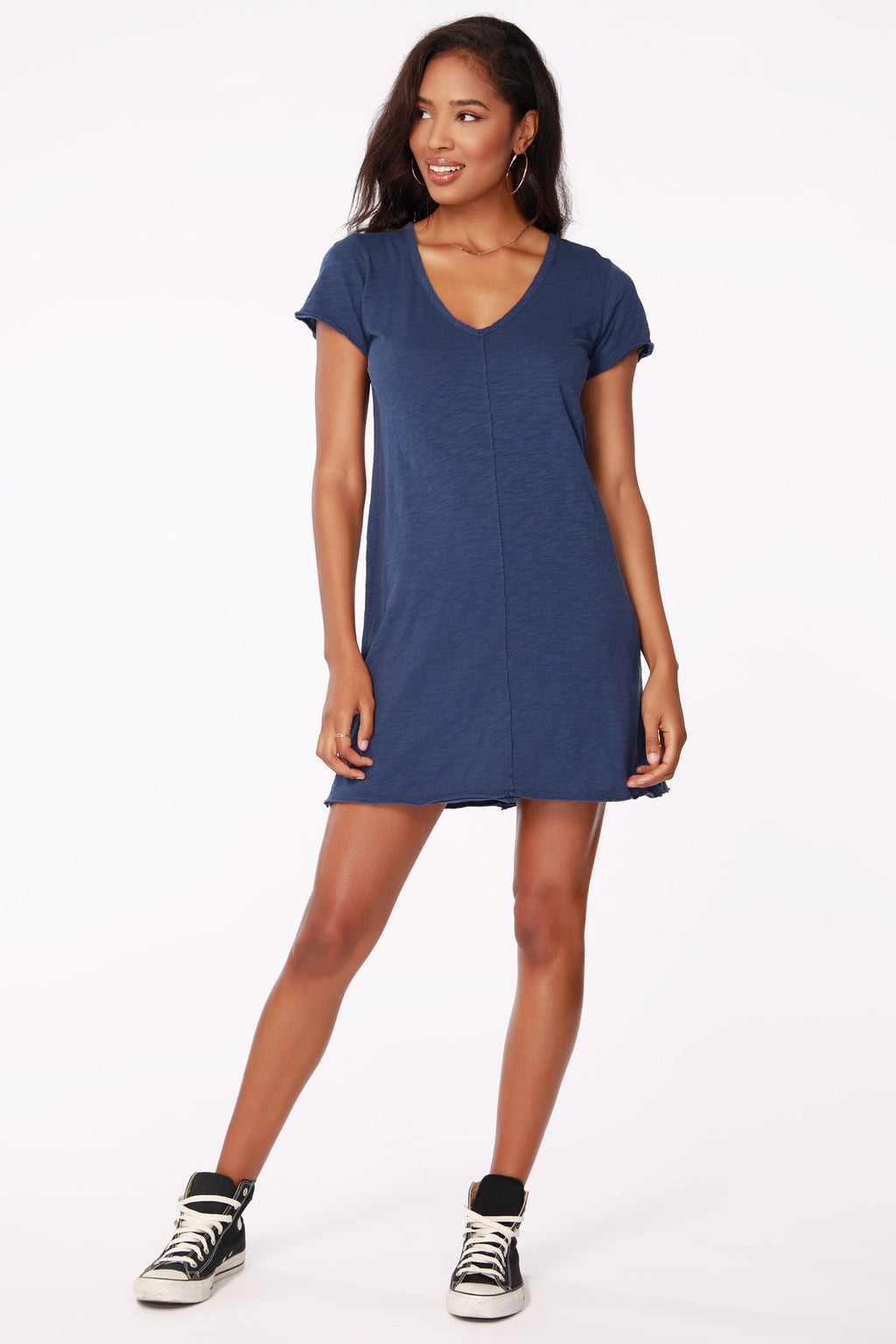 Short Sleeve Tee Shirt Dress in Coast