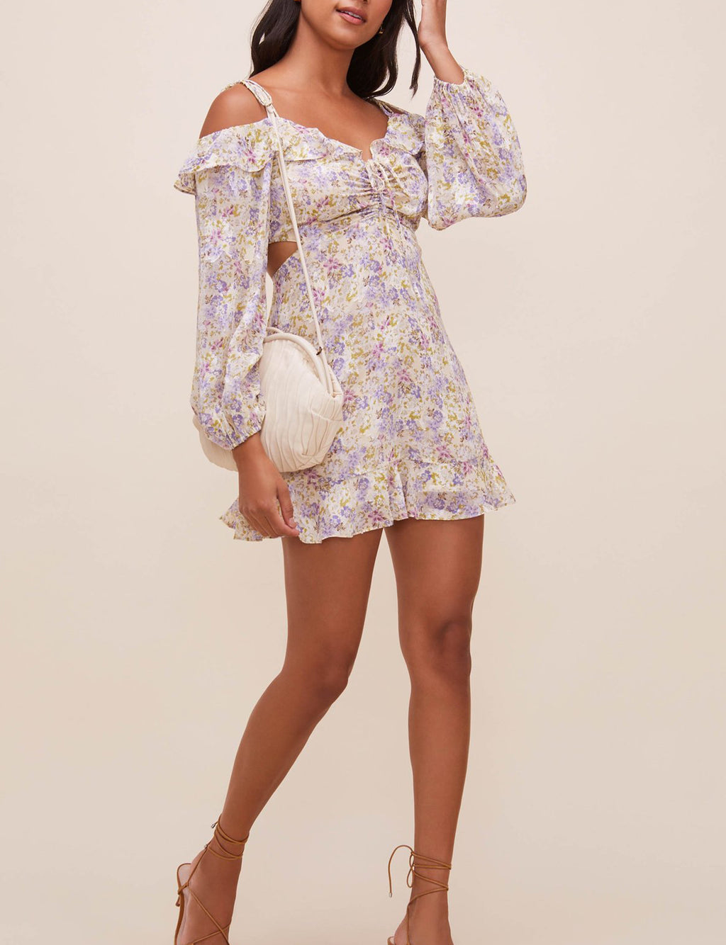 Anastasia Floral Dress in Ivory/Lilac