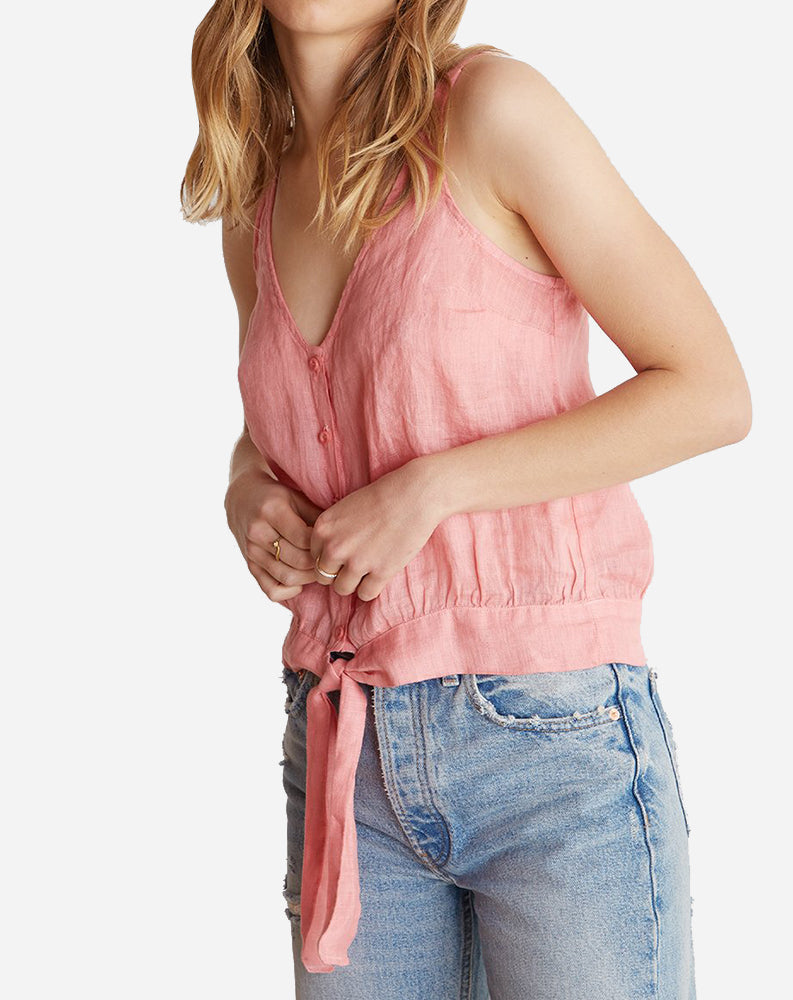 Tie Waist Button Front Tank in Red Coral