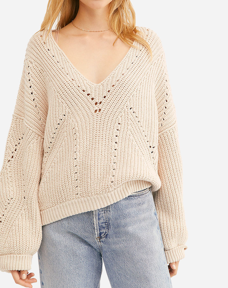 All Day Long V-Neck Sweater in Sand