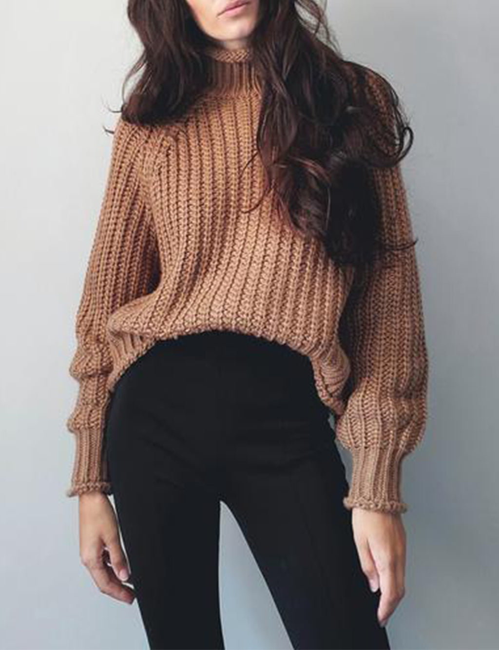 Jules Chunky Sweater in Camel