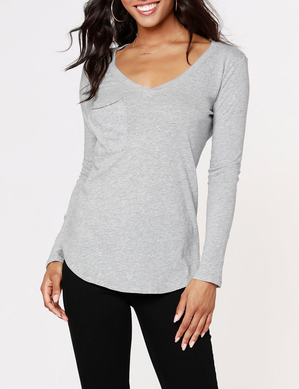 Long Sleeve Pocket Tee in Heather Grey