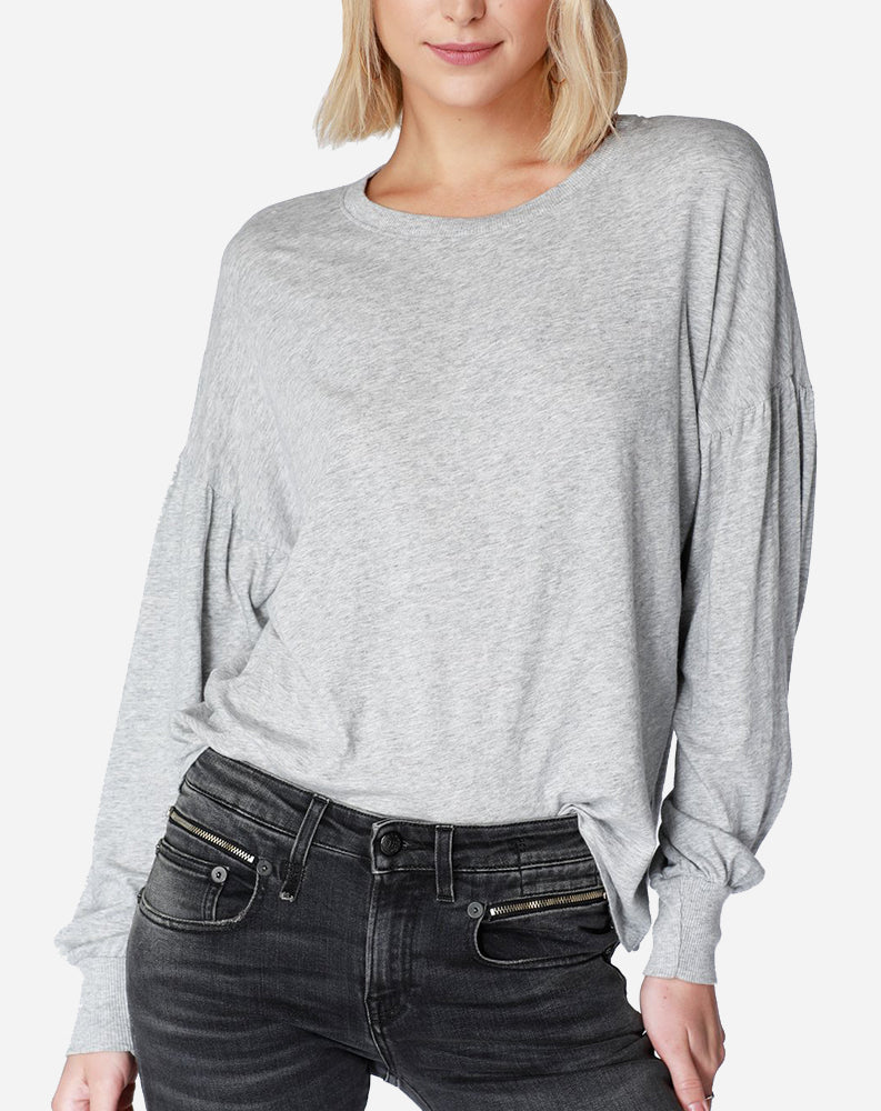 Shirred Sleeve Sweatshirt in Heather Grey