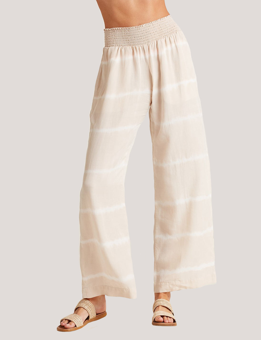 Bella Dahl Smocked Waist Wide Leg Pant in Safari Khaki