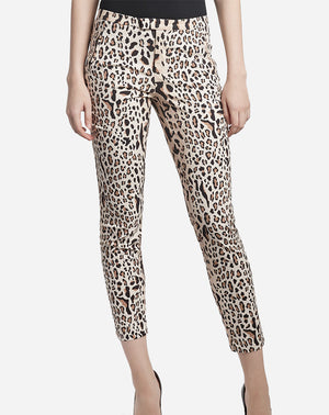 Leopard Print Cotton Slim Pant in Camel/Black Combo