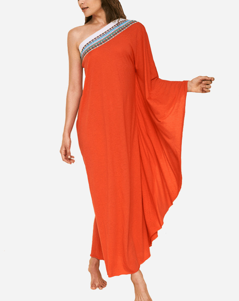 4c7b28d9ef62f Pitusa Pima One Shoulder Dress in Red – Punch Clothing