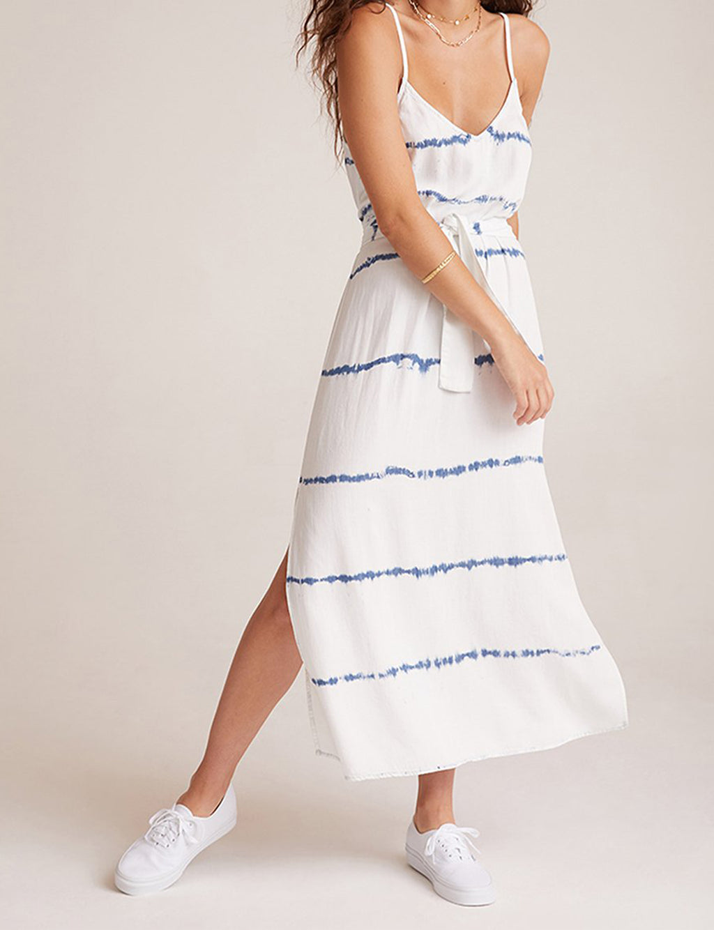 Smocked Waist Maxi Dress in Indigo White Out