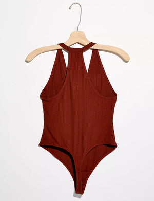 Speed Dial Bodysuit in Bronze Brown