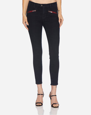 Mid Rise Moto Back Zip Skinny in Black