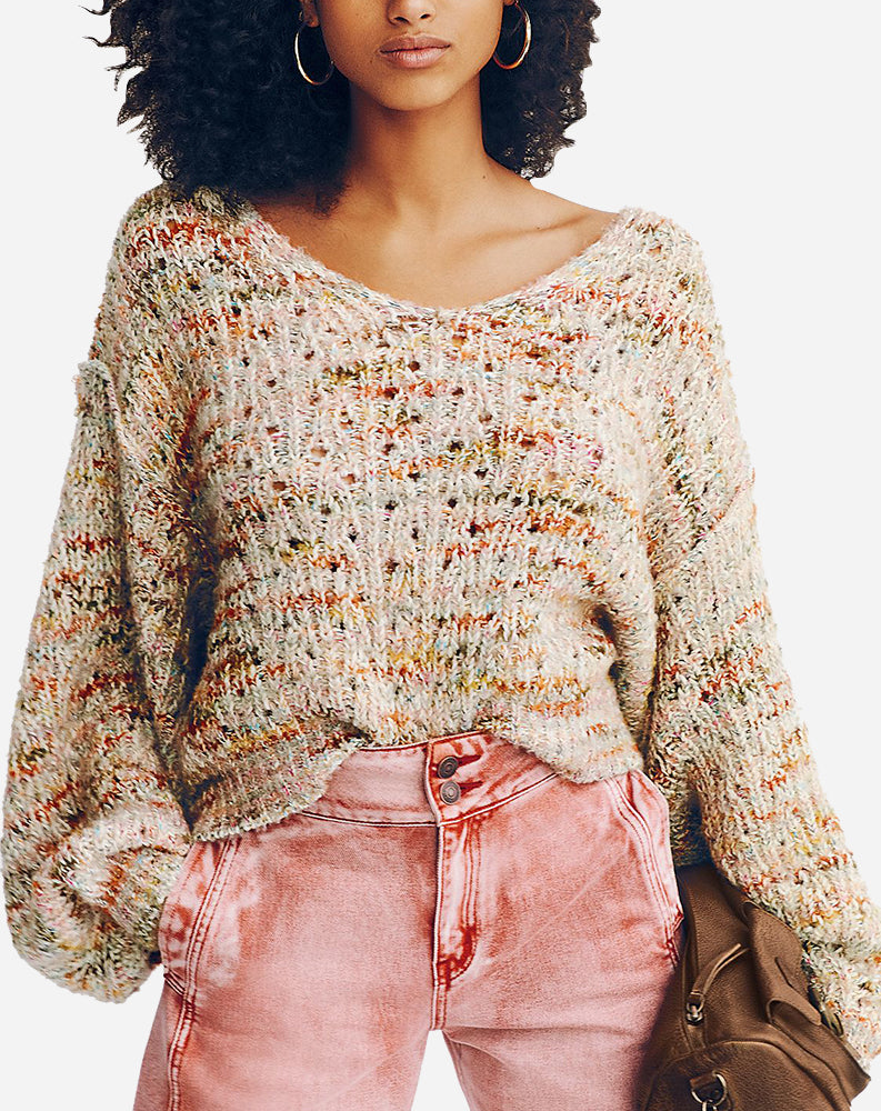 Free People Highland V Sweater, Mendocino Combo