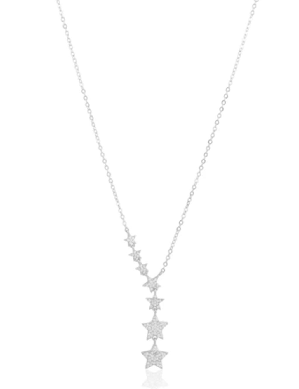Pave Star Lariat Necklace in Silver