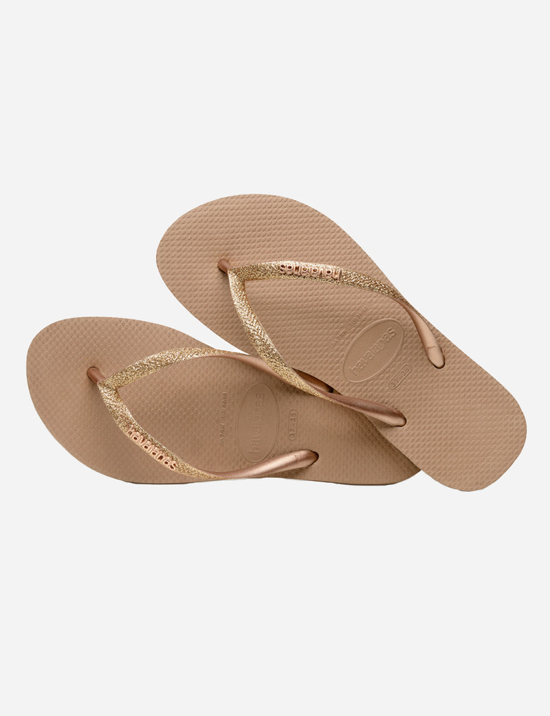 Havaianas Slim Glitter Sandal in Rose Gold