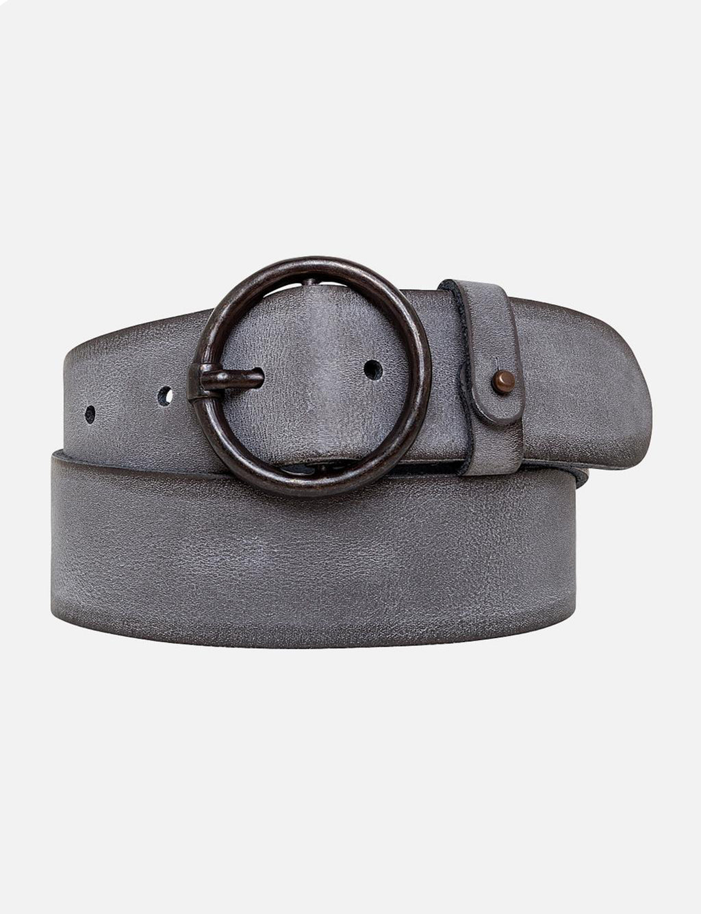 Amsterdam Heritage Pip Vintage Round Buckle Leather Belt in Grey