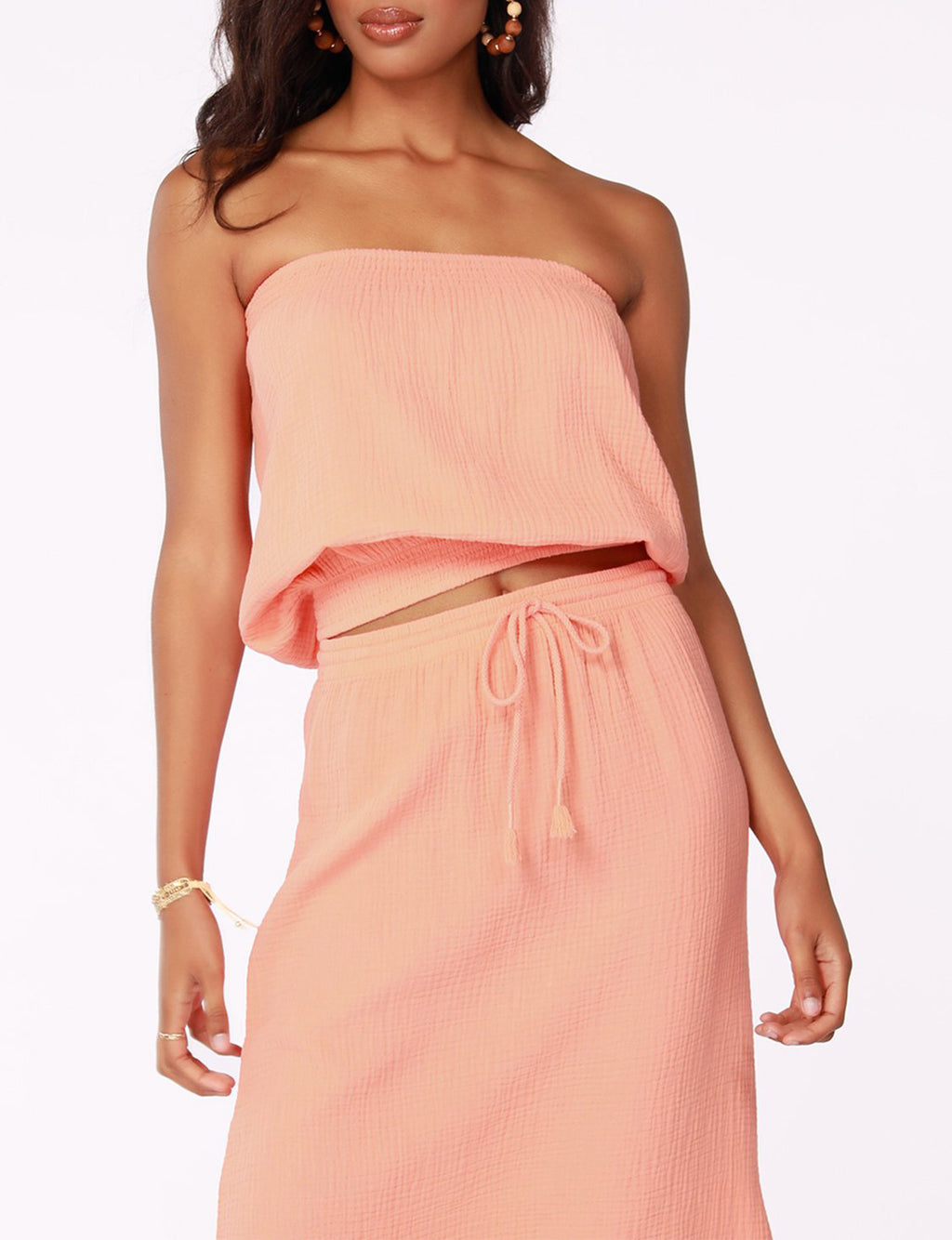 Strapless Blouse in Guava