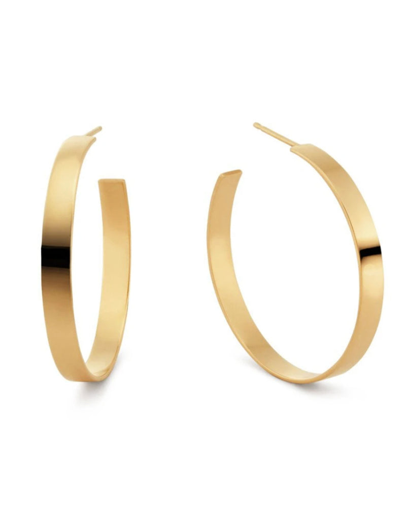 Carrie Flat Hoops in Gold