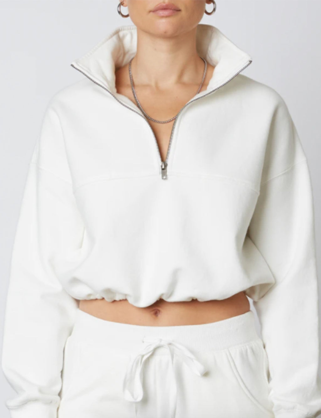Cinched Half Zip Pullover in White