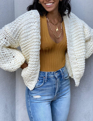 Puff Sleeve Cardigan in Ivory