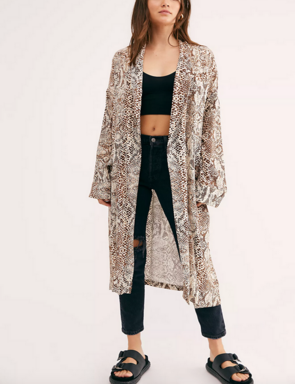 Free People Wild Nights Duster in Neutral Combo