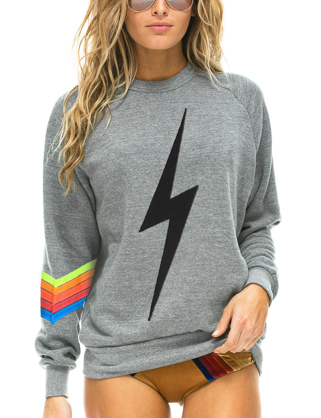 Aviator Nation Bolt Stitch Chevron Crew Sweatshirt in Heather/Neon
