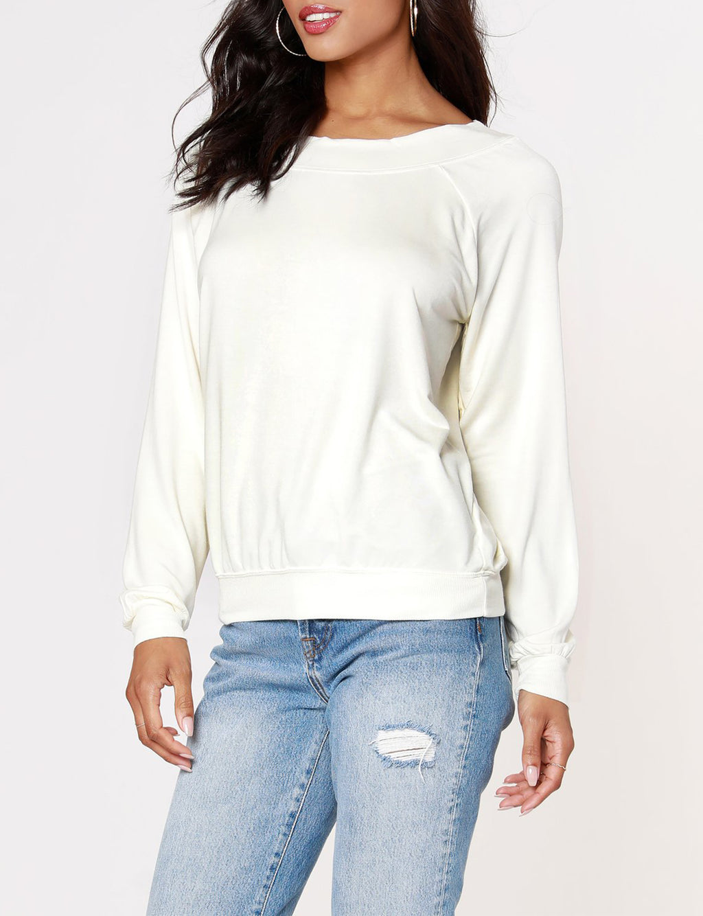Boatneck Raglan Top in Cream