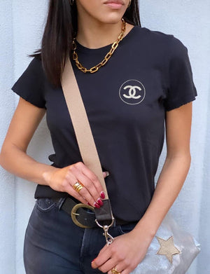 Chanel Circle Womens Fit Tee in Black