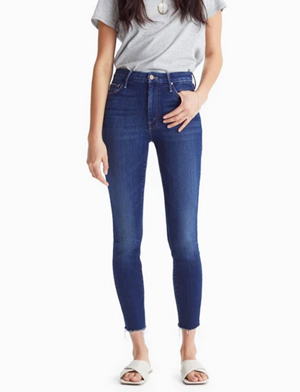Mother Denim High Waisted Looker Ankle Fray in Home Movies