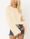 Amuse Society Cosi L/S Knit Fleece Top in Light Apricot