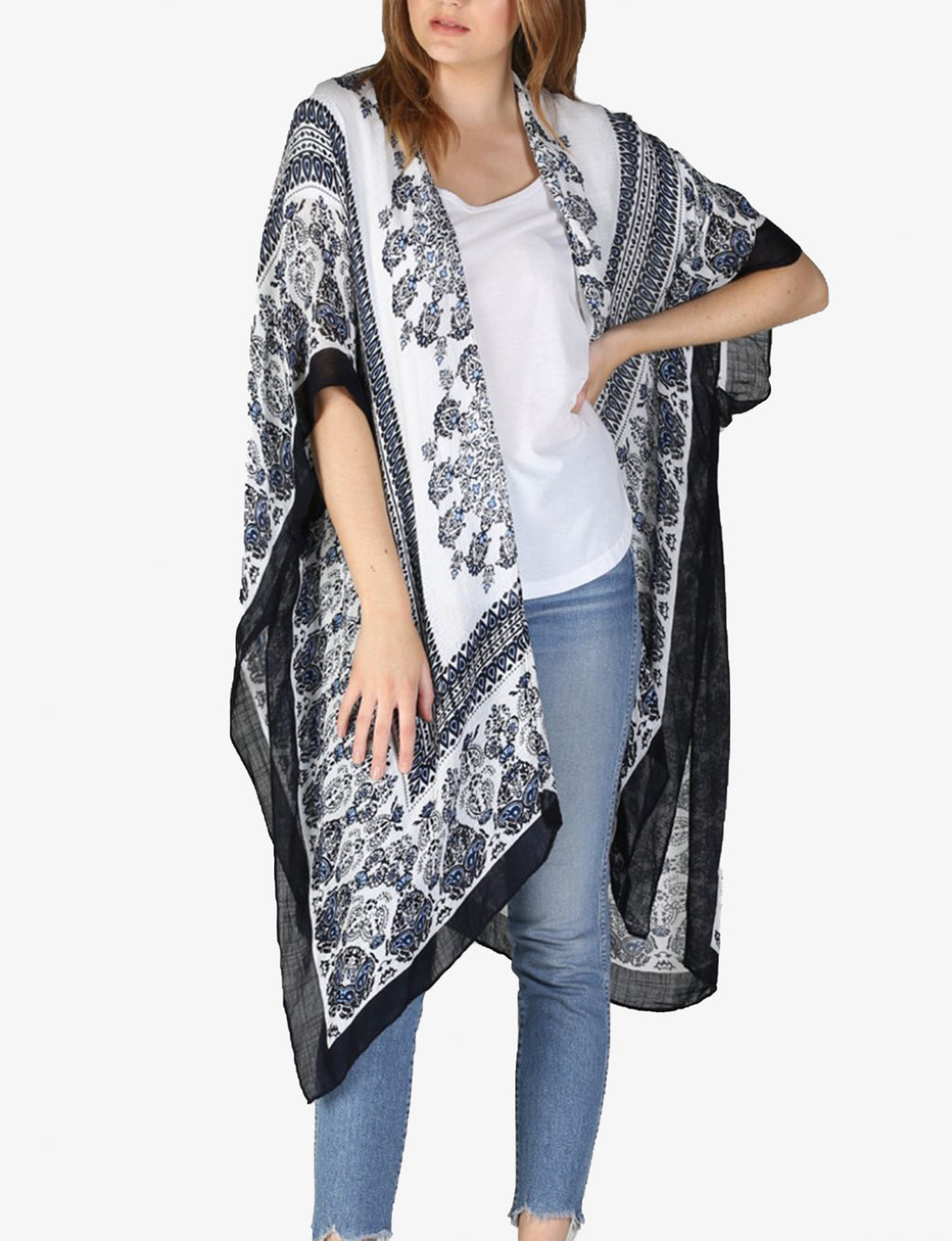 Paisley with Borders Kimono in Black/Blue/White