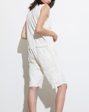 Albany Cut Off Jumpsuit in Painter White