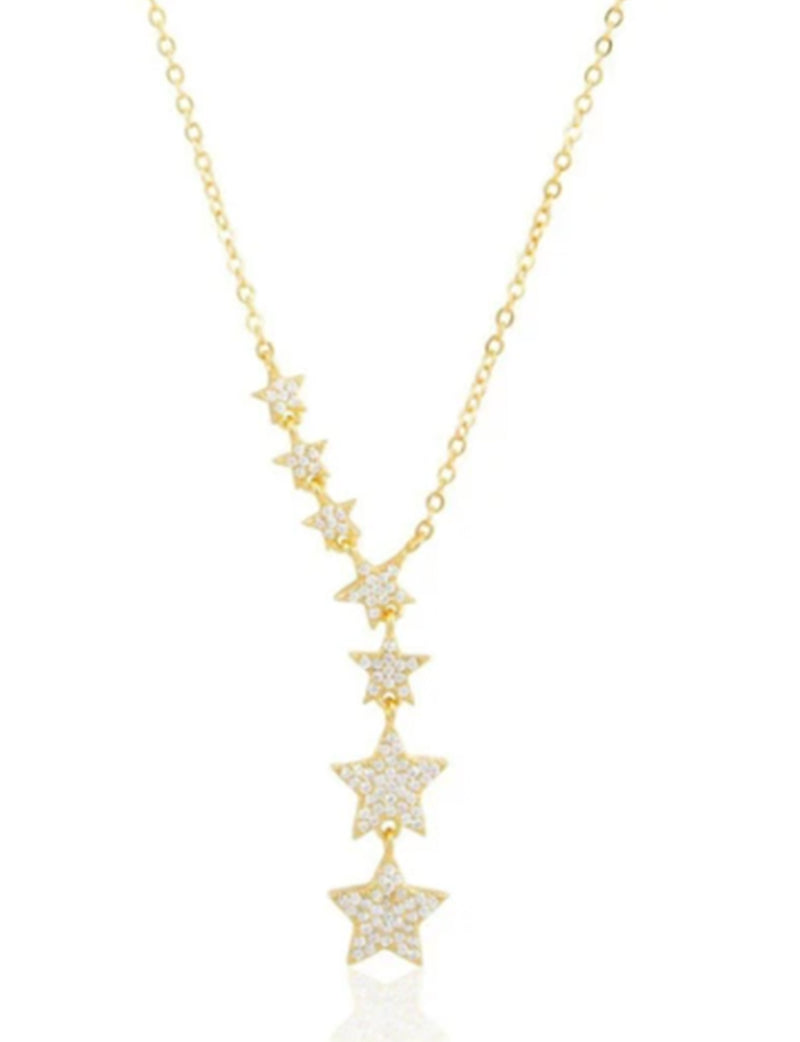 Pave Star Lariat Necklace in Gold
