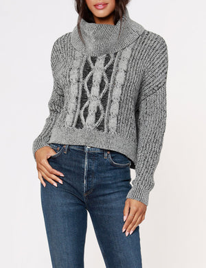 Turtle Neck Cropped Sweater in Light Grey/Black