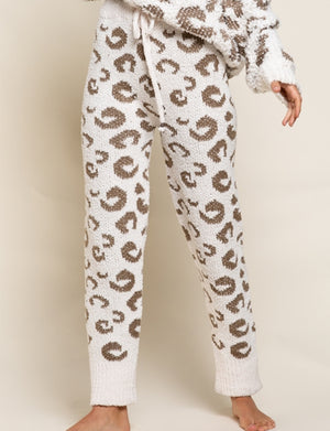 Leopard Chenille Pants in Cream/Dusty Olive