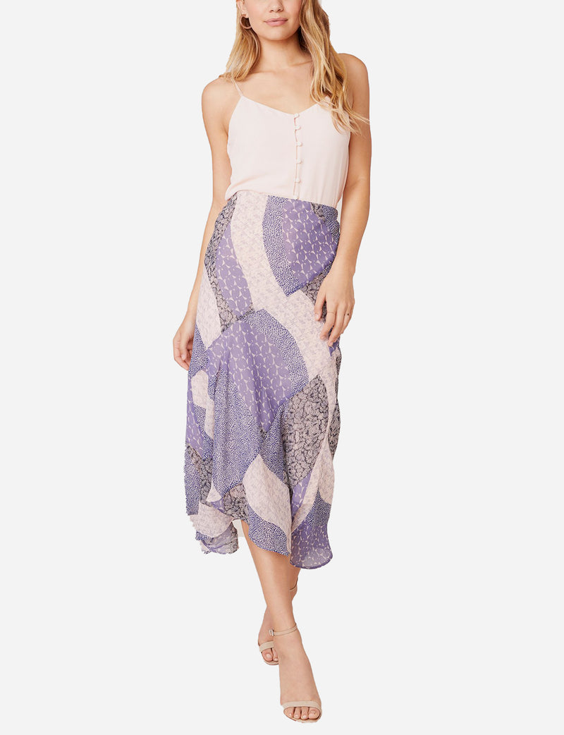 Patch Me In Midi Skirt in Steel Lavender