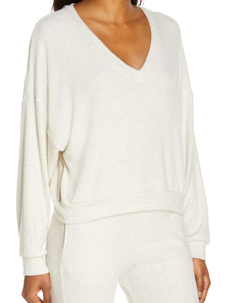 Endless Cozy Rib V Neck in Oatmeal