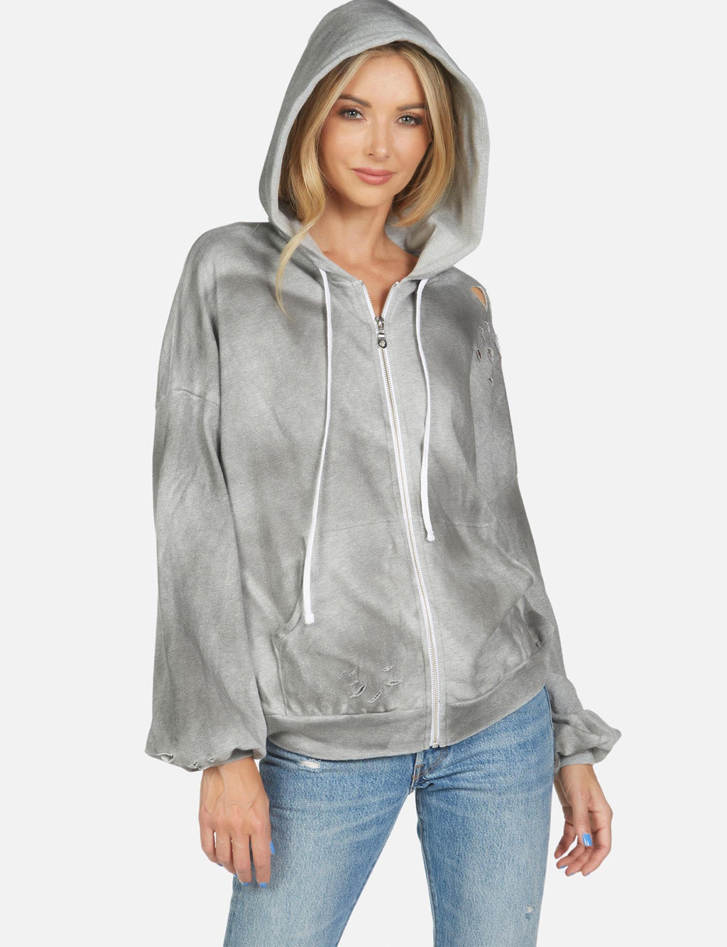 Hayworth Drop Shoulder Zip Hoodie in Oil Wash