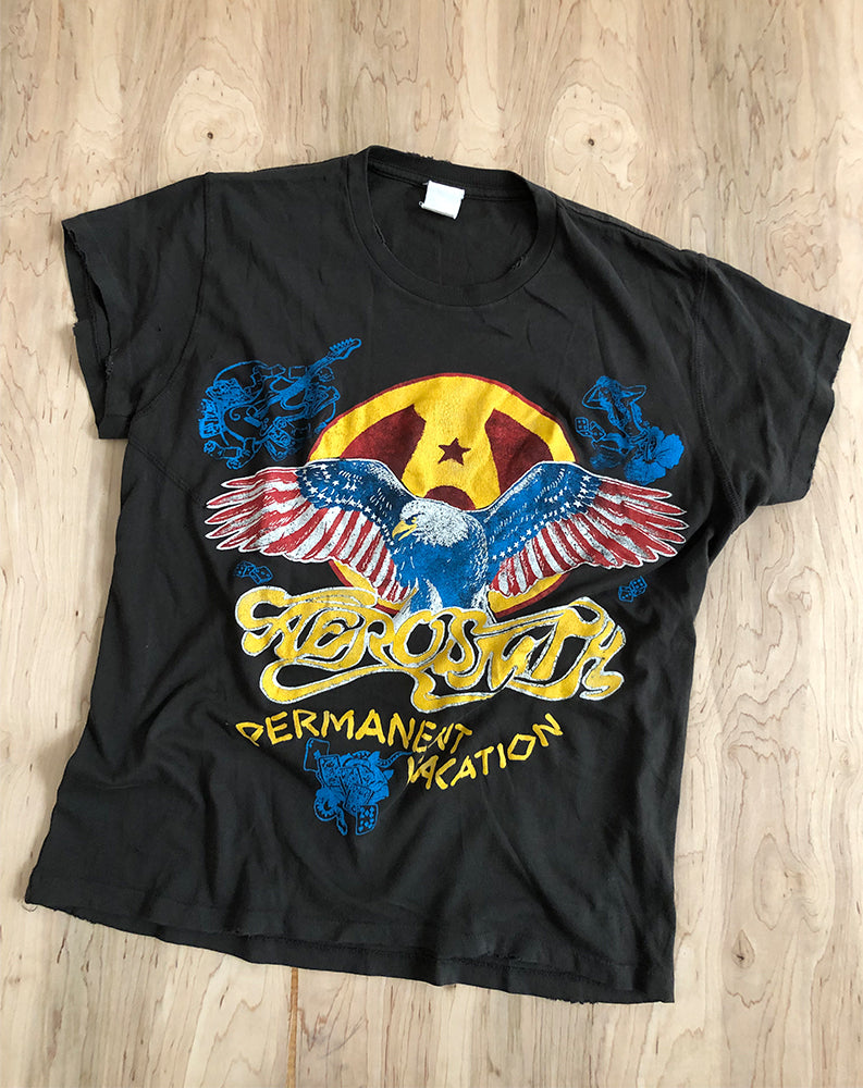 Aerosmith Permanent Vacation Crew Tee in Dirty Black