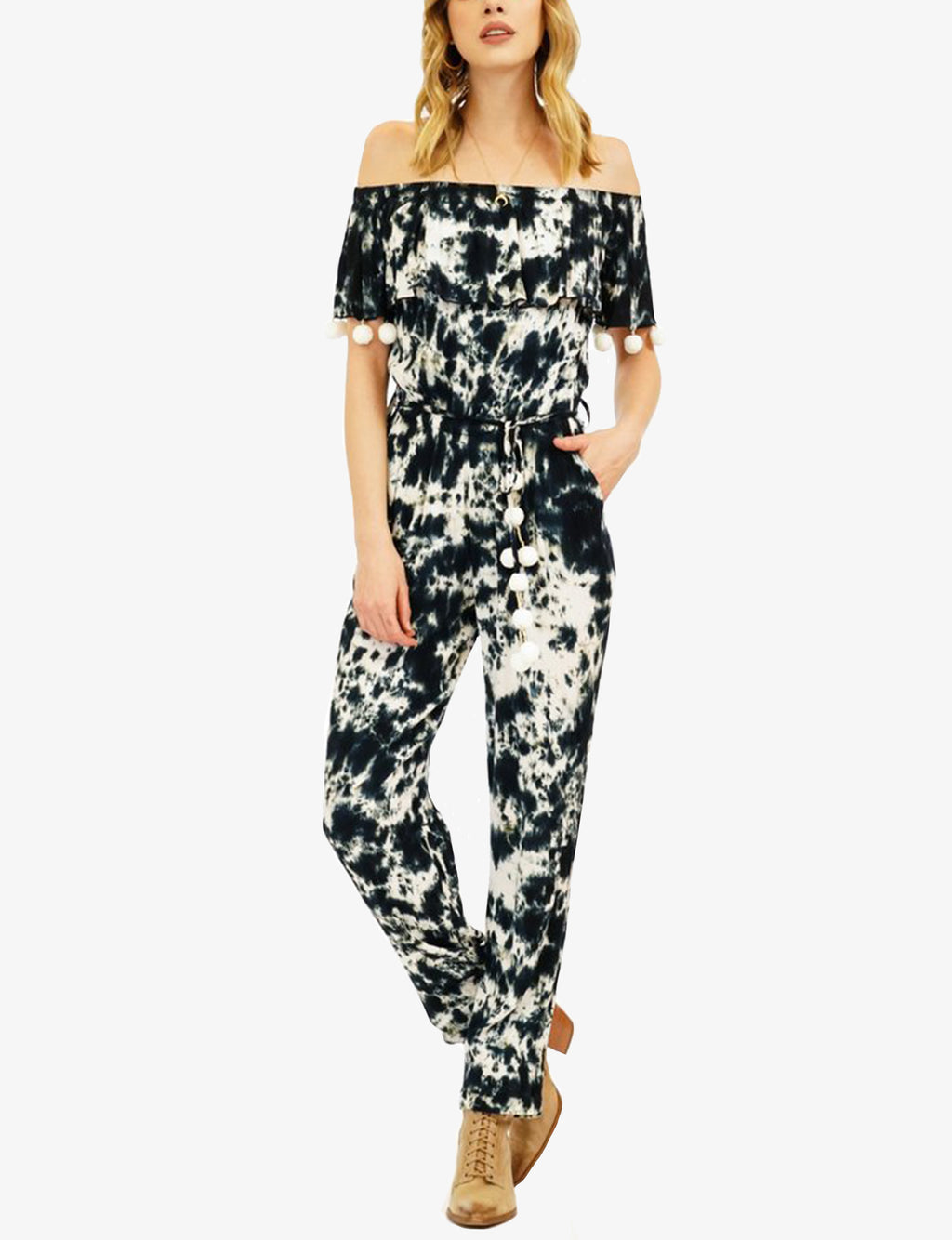 Tiare Hawaii Jayla Pantsuit, Black/White Smoke
