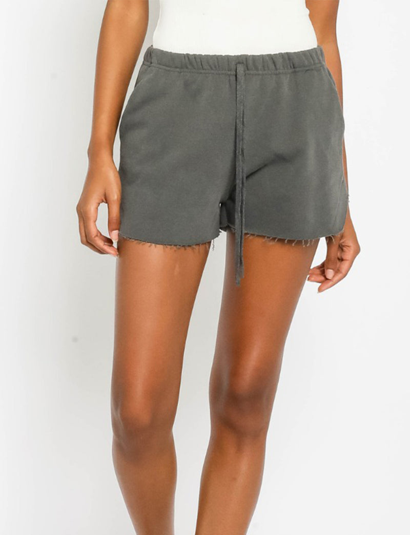 Vintage Washed Sweat Shorts in Charcoal