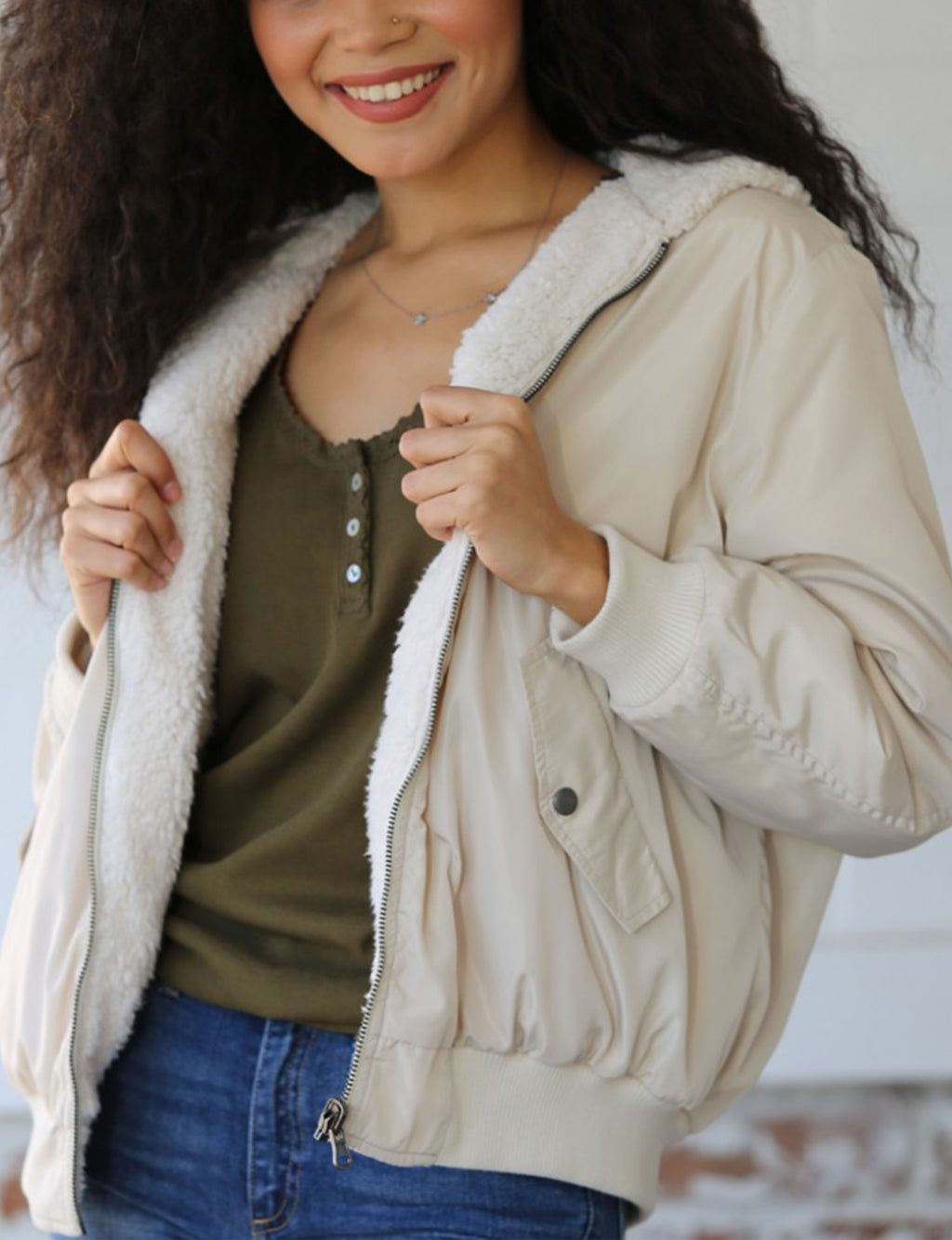Faux Fur Reversible Jacket in Cream