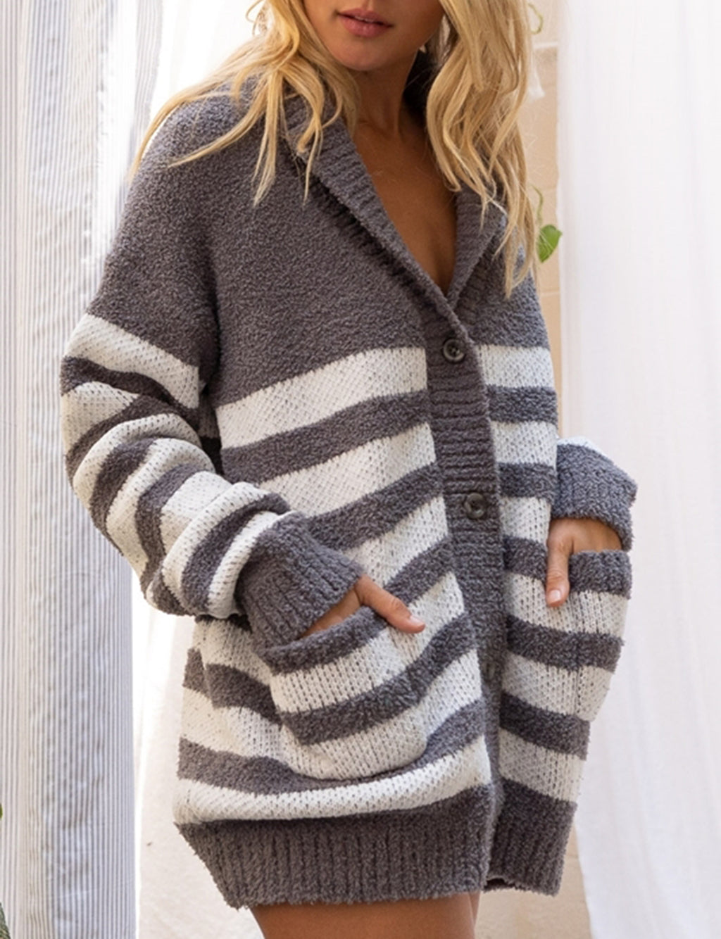 Wide Stripe Cardigan Sweater in Ivory/Grey