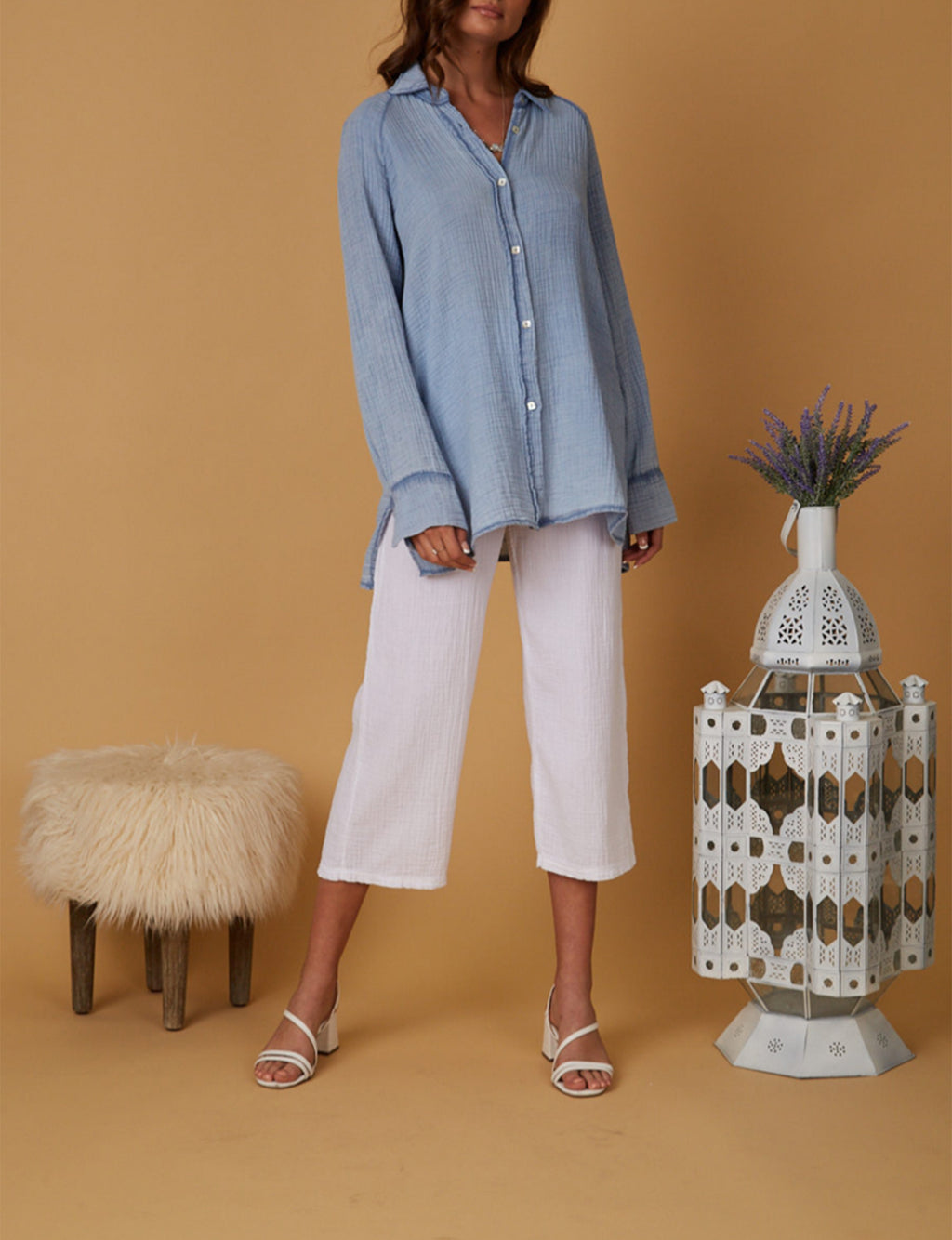 Mika Gauze Button Down in Blue