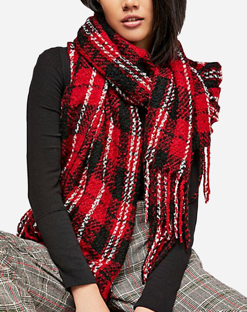 Emerson Plaid Scarf in Red Combo