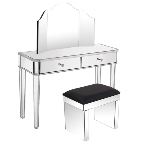 white dresing table with stool