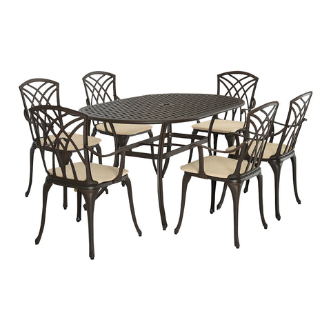 Metal Cast Aluminium 7 Piece Garden Furniture Patio Set With Cushions