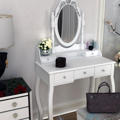 Dressing Table with Mirror|a Stool  |White|80 x146cm x 40 cm