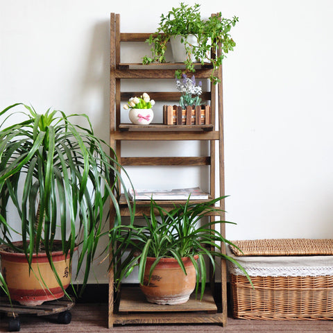 Brown_4 Tiers Wooden Garden Shelves Ladder