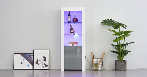 High Gloss Tall Cabinet with LED