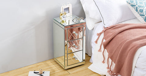 Mirror Nightstand, Bedside Tables|W30 cm X D30cm X H 60 cm